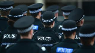 Police officers standing in ranks
