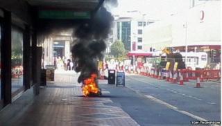 Fire in street