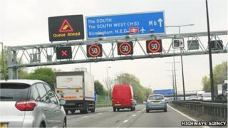 Managed motorway in the West Midlands