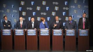 Democratic primary candidates for Mayor of New York City face off for the first debate at the Town Hall, in New York 21 August 2013