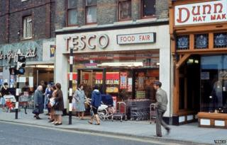 A Tesco store pictured in the 1960s/70s