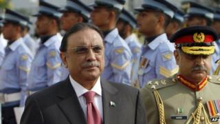 Outgoing President Asif Ali Zardari reviews a guard of honour during a farewell ceremony at President House in Islamabad