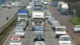 Traffic on the A14 in Cambridgeshire