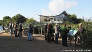 Birdwatchers at Attenborough Nature Reserve