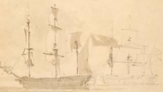 John Constable watercolour of ships