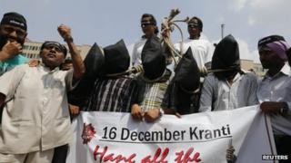 Demonstrators outside the Delhi court on September 10 2013