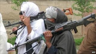 File photo Taliban fighters