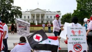 Pro-Syrian protestors outside the White House