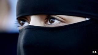 A Muslim woman wearing a niqab in Blackburn, England