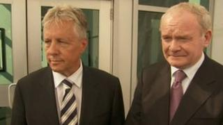 Peter Robinson and Martin McGuinness gave their responses to the Omagh decision in New York