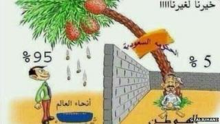 Saudi cartoon complaining about other countries benefitting from the kingdom's money