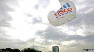 Tesco bag blowing in the wind