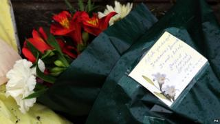 Flowers at the scene of the Leicester fire