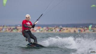 Sir Richard Branson kitesurfing