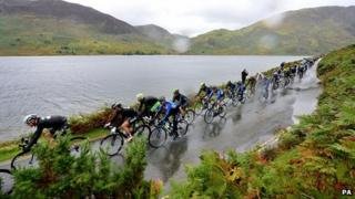Tour of Britain riders at Crummock Water near Keswick