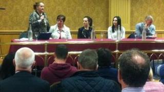 Organiser Catherine Logue addresses the public meeting
