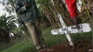 A grave of a person killed in an attack on a church in Kenya (19 April 2008)