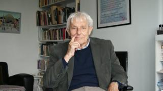 Dannie Abse in the study of his London home
