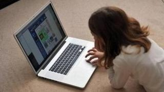 Generic girl using a computer