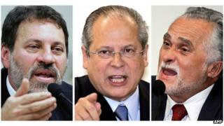 'Mensalao' defendants (L to R): former Treasurer of the Workers Party (PT) Delubio Soares; former Chief of Staff of the Brazilian Government Jose Dirceu and and former President of PT Jose Genoino