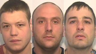 Desmond James Noonan, 27, (left) ,Graham Beaumont, 29, (middle) and Christopher Perry, 29, (right)