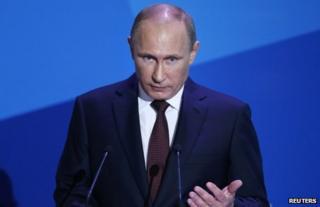 Russian President Vladimir Putin speaking in Valdai, Russia, 19 September
