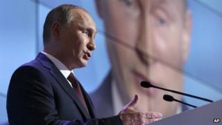Russian President Vladimir Putin speaks at the Valdai forum. Photo: 19 September 2013
