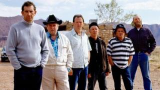 L-R: Jimmy Nail, Timothy Spall, Kevin Whately, Christopher Fairbank, Tim Healy and Pat Roach