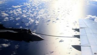 A RAF Tornado refuels for the last time from an RAF VC10 over the North Sea