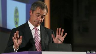 Nigel Farage with his hands raised in a gesture of resignation