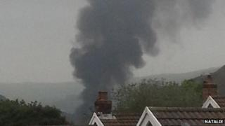 The smoke seen by a resident above Llwynypia on Sunday afternoon