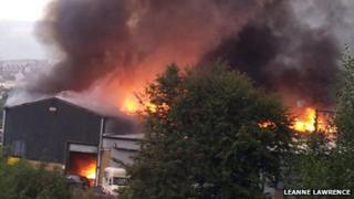 The fire service said six factory units inside the building were 'well alight'