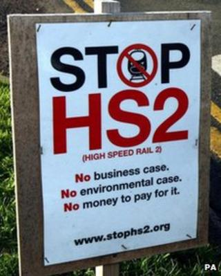 A Stop HS2 sign at the road side in Drayton Bassett, Staffordshire
