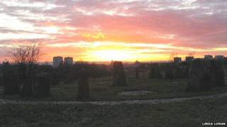 Sunset at the Sighthill stone circle