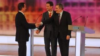 David Cameron, Nick Clegg and Gordon Brown in the 2010 live TV debate