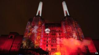Flames projected on to Battersea Power Station