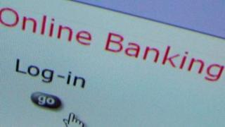 Online banking screen