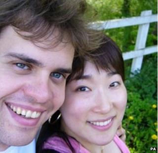 Moon Hee Kang with her husband Niall Saville