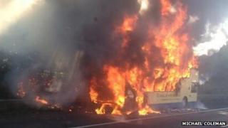 M6 bus fire