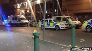 Police cars on Broad Street