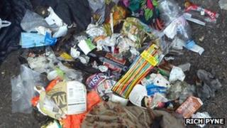 Pile of rubbish collected on Ben Nevis