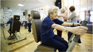 Elderly Swedish people at an exercise class (file image)