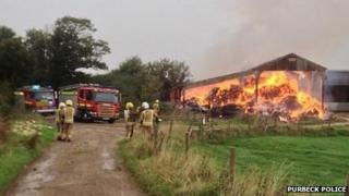 Barn fire at Langton Matravers
