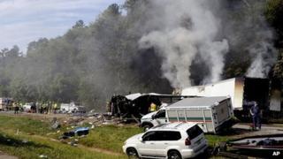 Scene of crash in Tennessee. 2 Oct 2013