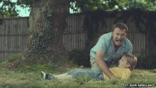 Father screaming for help in the advert