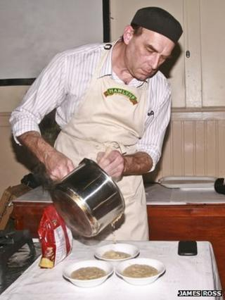 John Boa serving up his award-winning porridge