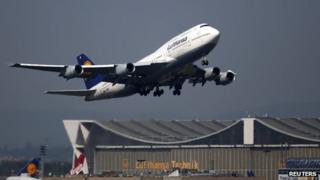 Lufthansa jet landing in Frankfurt, file pic