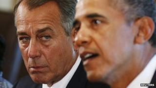 Speaker of the House John Boehner listens to US President Barack Obama during a meeting with bipartisan Congressional leaders in the Cabinet Room at the White House in Washington to discuss a military response to Syria, 3 September 2013