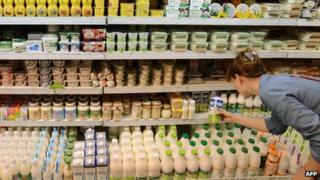 Dairy goods in Russian supermarket, Moscow - file pic