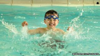 A swimmer in Worcester's pool